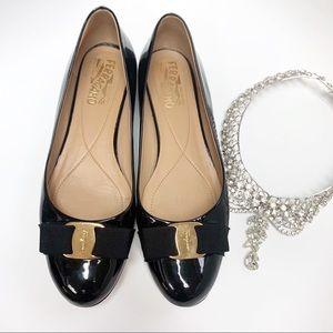 FERRAGAMO Varina Ballet Flat Bow Black  Patent 9